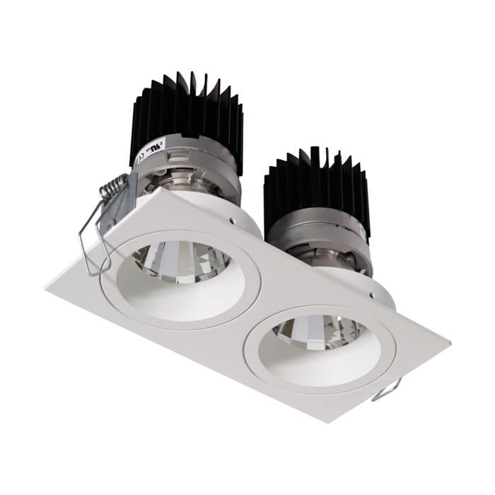 3397.IP20.S1/.. - 2XØ70 LUXOR.IP20, inbouwspot - vierkant - vast - down - met led - zonder LED driver