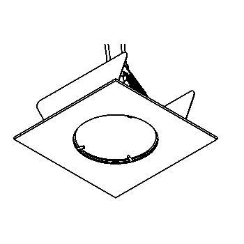Drawing of 303V/.. - Ø65-70 INOX 316, inbouwspot - vierkant - vast - zonder transfo
