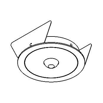 Drawing of ZENO50B3/.. - Ø80, inbouwbasis voor pendel met bolgewricht - rond - zonder transfo