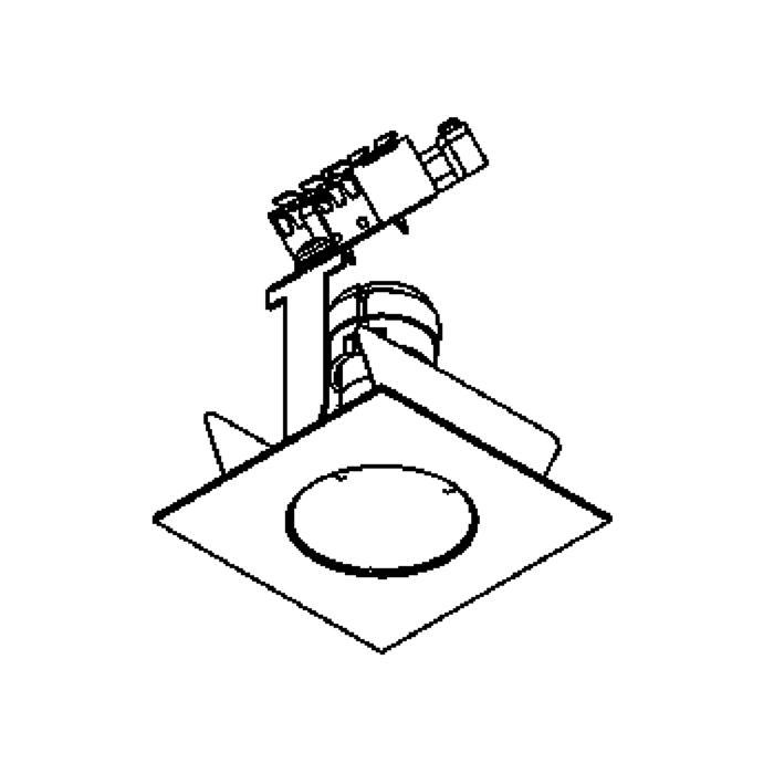 Drawing of 303V.230V/.. - Ø65-70 INOX 316, inbouwspot - vierkant - vast