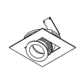 Drawing of QUAD/.. - Ø86, inbouwspot - vierkant - richtbaar