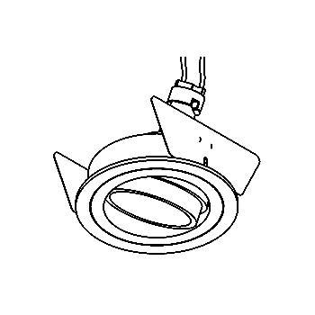 Drawing of DISCO/.. - Ø70, inbouwspot - rond - richtbaar - zonder transfo
