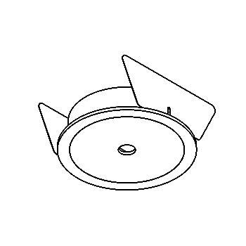 Drawing of ONO/.. - Ø70, Einbaubasis für Aufbaustrahler oder Pendelleuchte - rund - ohne Trafo