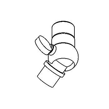 Drawing of 022/.. - KNEEJOINT, accessoires voor opbouwspot - richtbaar - 230V
