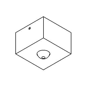 Drawing of 025.B3.M8/.. - ROSETTE UP, opbouwrozet - vierkant - met bolgewricht B3