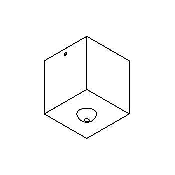 Drawing of 026.B3.ZT.D8,3/.. - ROSETTE UP, opbouwrozet - vierkant - met bolgewricht B3 - zonder LED driver
