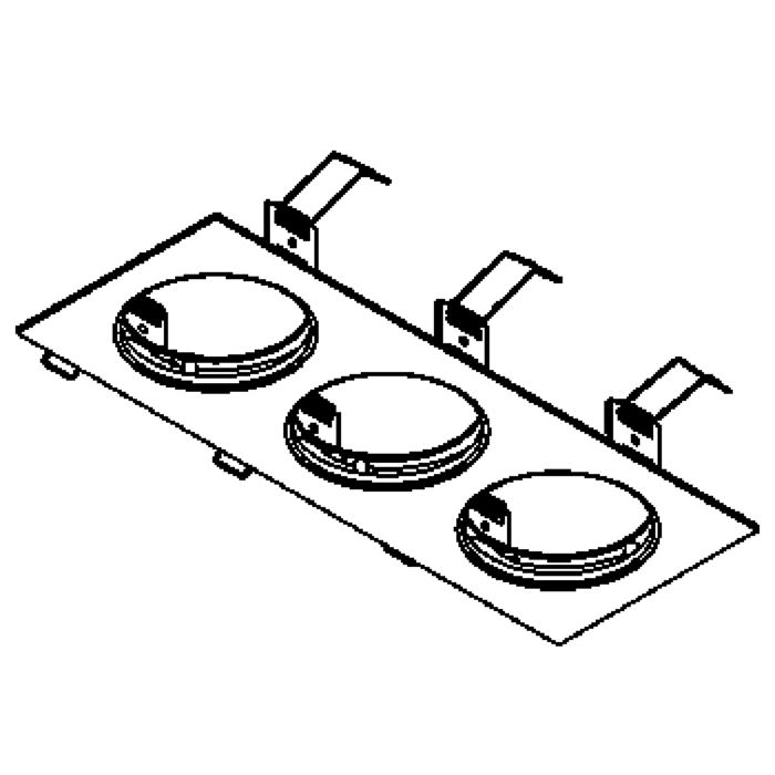 Drawing of TRIPLEBASE/.. - CONVERTIBLE SYSTEM, inbouwbasis voor 3 cassettes - vierkant