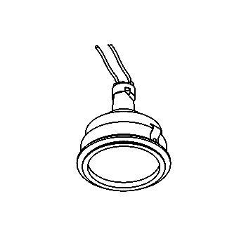 Drawing of CASAQUANODOT/.. - Ø80 SYSTEM, inbouwcassette - rond - vast - met gezandstraald glas - zonder transfo