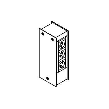 Drawing of 029/.. - BASCO, stopcontactpaal - lege inox paal om 6 stopcontacten in te bouwen