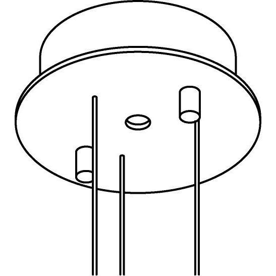 Drawing of 032/.. - ROSETTE UP, opbouwrozet - voor pendel met 3 staalkabels