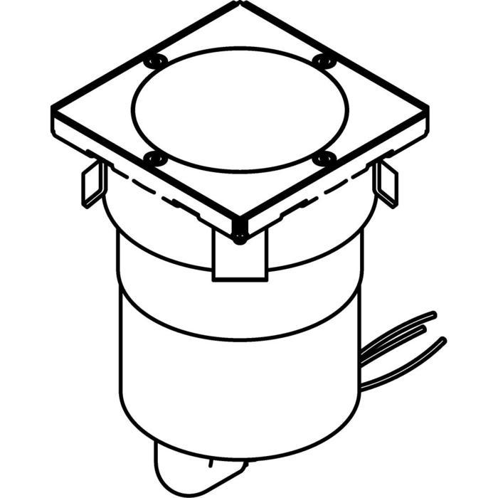 Drawing of 3348.9/.. - MAGMA TYPE 3 = even with the floor, uitneembare grondspot met inwerkkader gelijk met de bevloering - vast - met LED driver