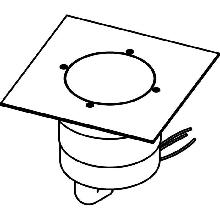 Drawing of 3329.9.150/.. - MAGMA TYPE 2  cover on the floor, uitneembare grondspot met afdekkader 150x150 op de bevloering - vast