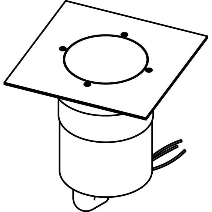 Drawing of 3350.9.150/.. - MAGMA TYPE 3  cover on the floor, uitneembare grondspot met afdekkader 150x150 op de bevloering - richtbaar