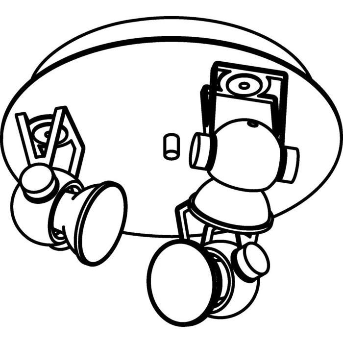 Drawing of 3244/.. - RINGO, plafonnier apparent - orientable - avec base Rondobox