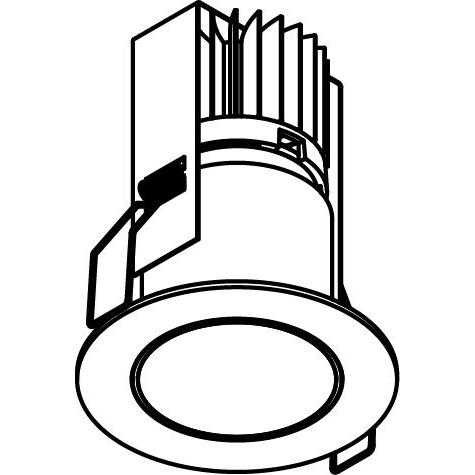 Drawing of 3370/.. - FLUX INOX 316 Ø72, inbouwspot - rond - vast - down - met helder glas - met LED driver