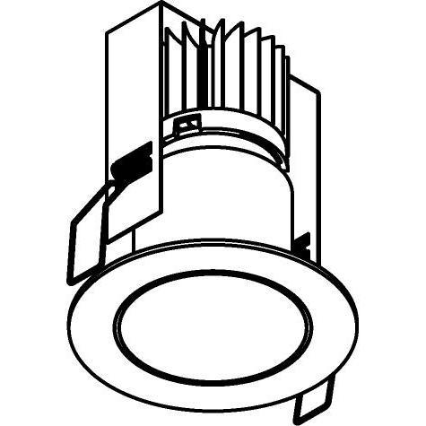 Drawing of 3371/.. - FLUX INOX 316 Ø82, inbouwspot - rond - vast - down - met helder glas - met LED driver