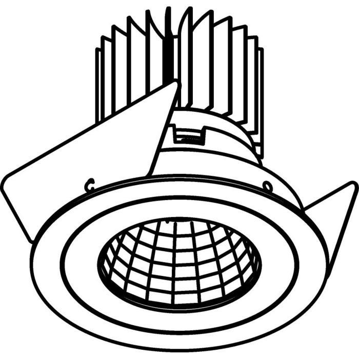 Drawing of 1382.IP20.S2/.. - Ø80 LUXOR.IP20, inbouwspot rond - rond - vast - down - met led - zonder LED driver