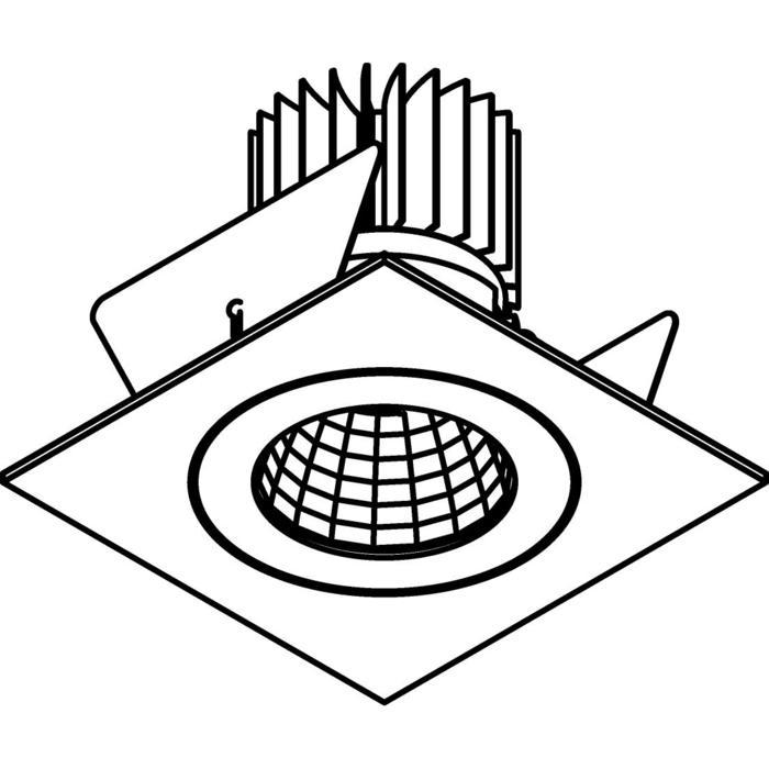 Drawing of 1383.IP20.S2/.. - Ø80 LUXOR.IP20, inbouwspot vierkant - vierkant - vast - down - met led - zonder LED driver