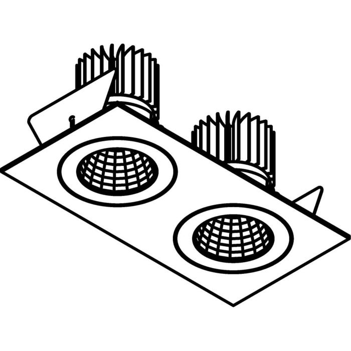 Drawing of 1384.IP20.S2/.. - 2XØ80 LUXOR.IP20, inbouwspot vierkant - vierkant - vast - down - met led - zonder LED driver