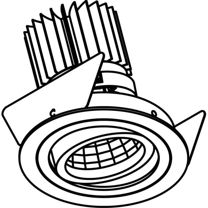 Drawing of 1386.IP20.S2/.. - Ø80 LUXOR.IP20, inbouwspot - rond - richtbaar - down - met led - zonder LED driver