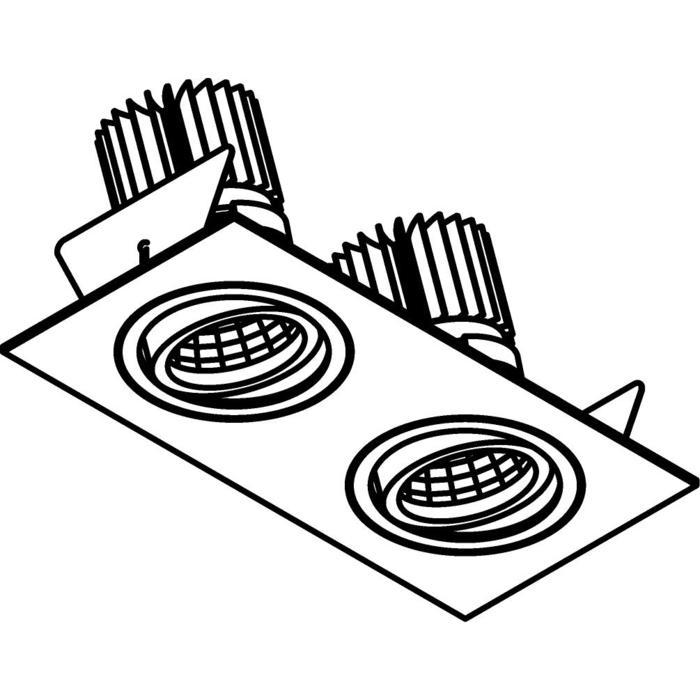 Drawing of 1388.IP20.S2/.. - 2XØ80 LUXOR.IP20, Einbaustrahler viereckig - viereckig - schwenkbar - down - mit Led - ohne Driver LED