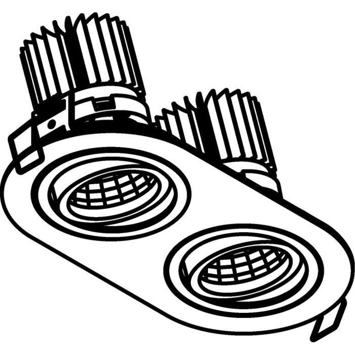 Drawing of 1389.IP20.S1/.. - 2XØ80 LUXOR.IP20, inbouwspot - richtbaar - down - ovaal - met led - zonder LED driver
