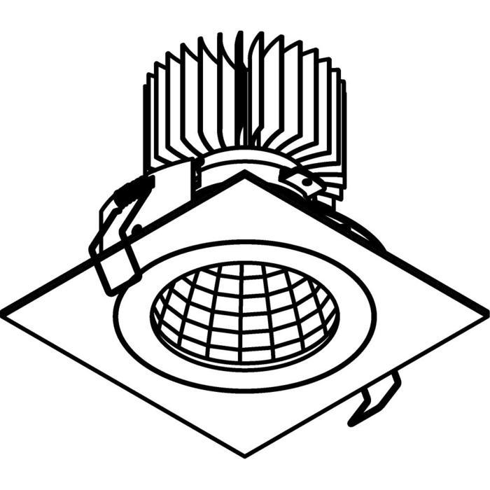 Drawing of 3383.IP20.S1/.. - Ø100 LUXOR.IP20, inbouwspot vierkant - vierkant - vast - down - met led - zonder LED driver