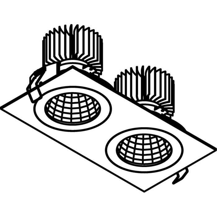 Drawing of 3384.IP20.S1/.. - 2XØ100 LUXOR.IP20, inbouwspot - vierkant - vast - down - met led - zonder LED driver
