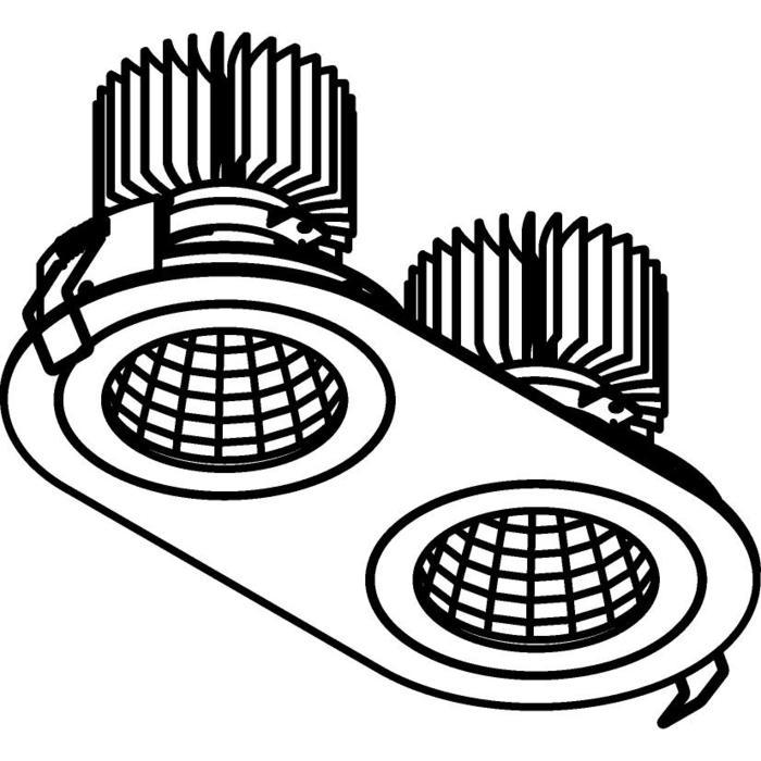 Drawing of 3385.IP20.S1/.. - 2XØ100 LUXOR.IP20, inbouwspot - rond - vast - down - met led - zonder LED driver