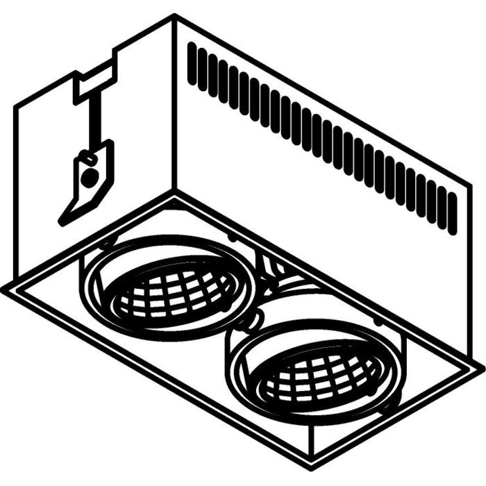 Drawing of 1972.IP20/.. - LUXOR IN, inbouwspot - vierkant - richtbaar - down - met led - zonder LED driver