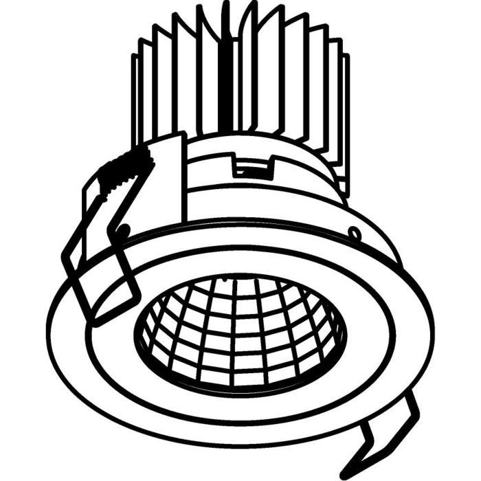 Drawing of 1382.IP20.S1/.. - Ø80 LUXOR.IP20, inbouwspot rond - rond - vast - down - met led - zonder LED driver