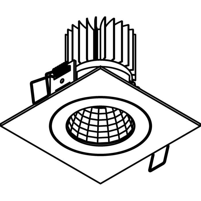 Drawing of 1383.IP20.S1/.. - Ø80 LUXOR.IP20, spot encastrable carré - carré - fixe - down - avec led - sans driver LED