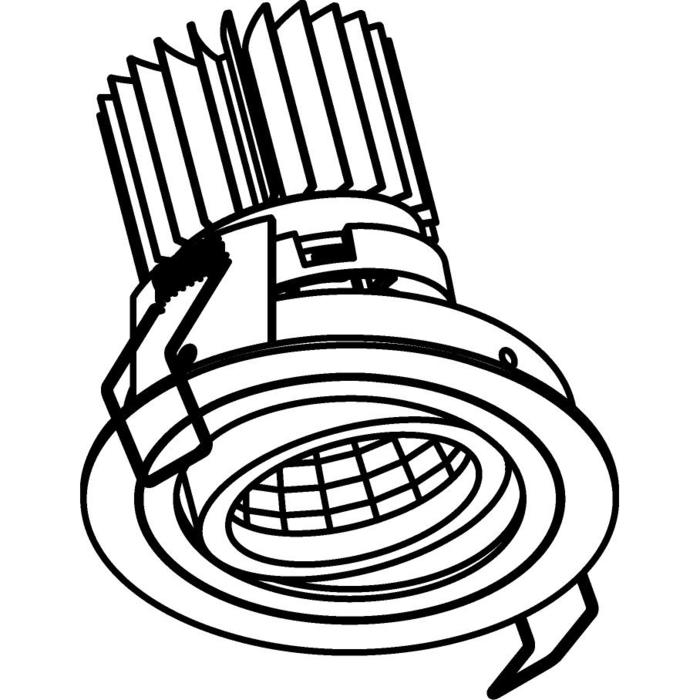 Drawing of 1386.IP20.S1/.. - Ø80 LUXOR.IP20, inbouwspot rond - richtbaar - down - met led - zonder LED driver