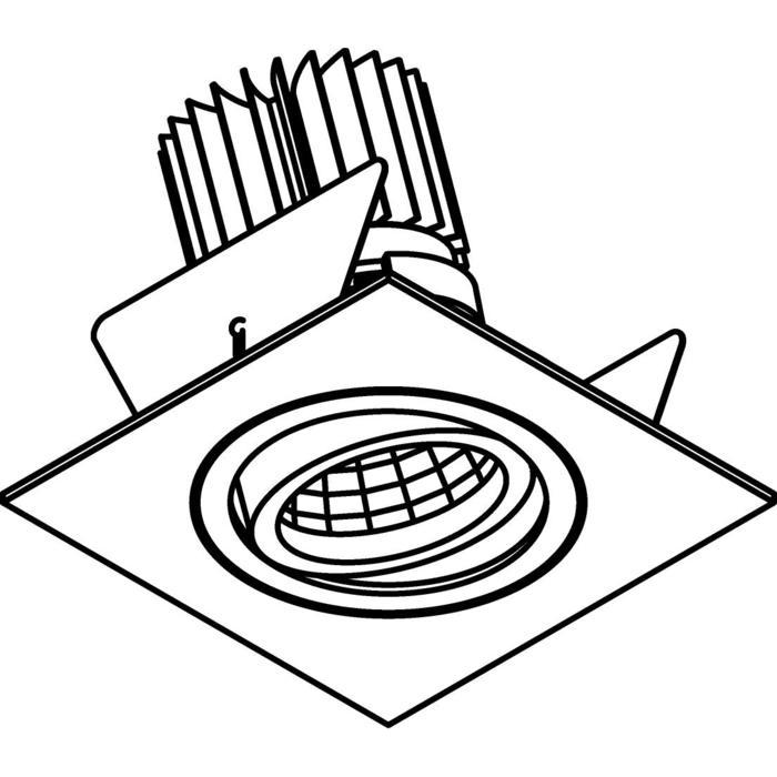 Drawing of 1387.IP20.S2/.. - Ø80 LUXOR.IP20, inbouwspot vierkant - vierkant - richtbaar - down - met led - zonder LED driver