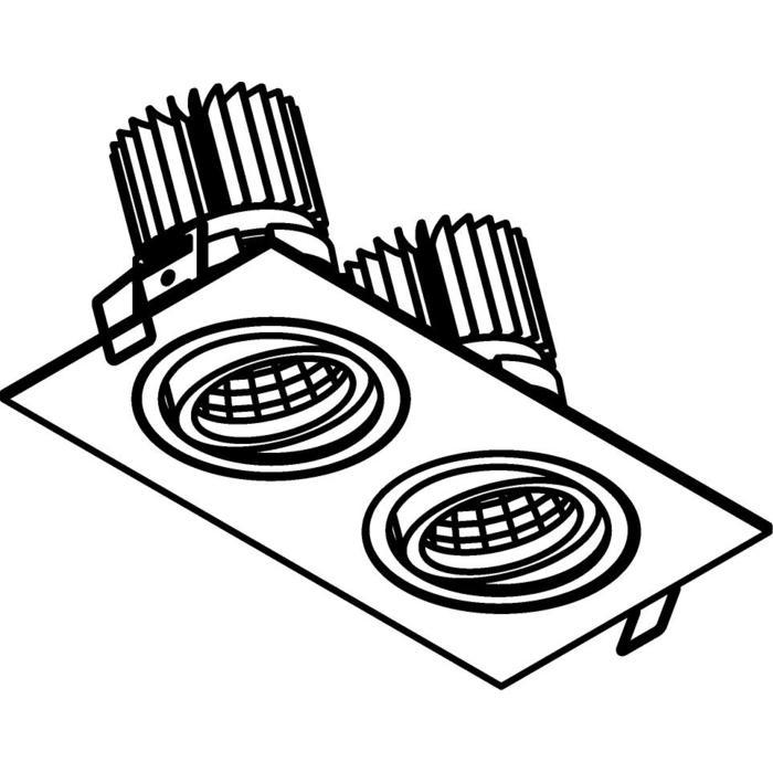 Drawing of 1388.IP20.S1/.. - 2XØ80 LUXOR.IP20, inbouwspot - vierkant - richtbaar - down - met led - zonder LED driver