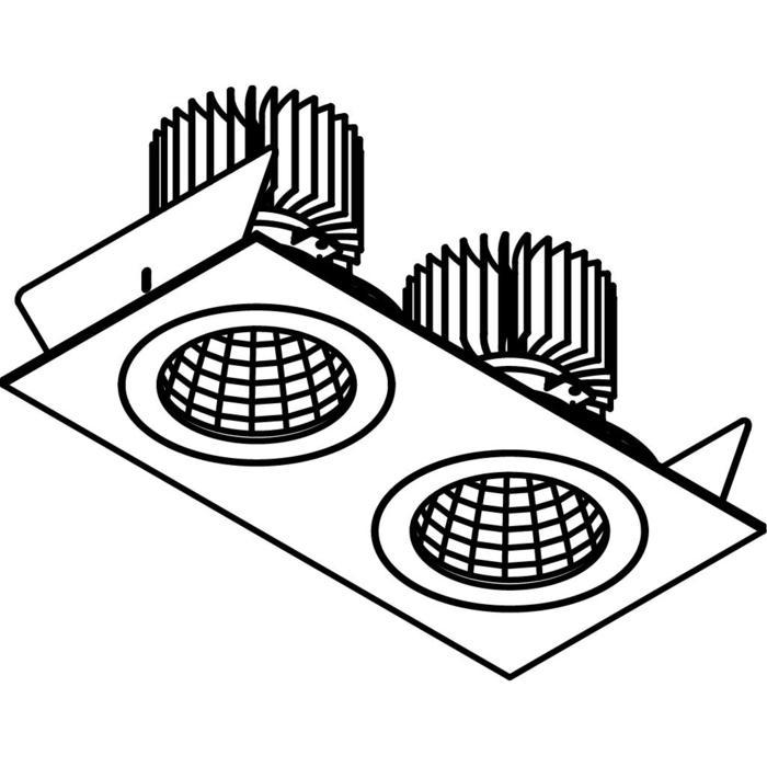 Drawing of 3384.IP20.S2/.. - 2XØ100 LUXOR.IP20, inbouwspot - vierkant - vast - down - met led - zonder LED driver