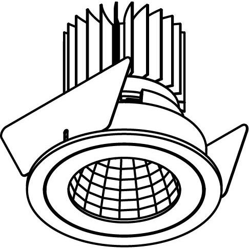 Drawing of 3390.IP20.S2/.. - Ø70 LUXOR.IP20, downlight round - fixed - down - with led - without LED driver