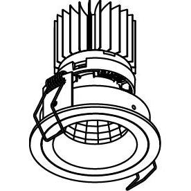 Drawing of 3391.IP20.S1/.. - Ø70 LUXOR.IP20, inbouwspot - rond - vast - down - met led - zonder LED driver