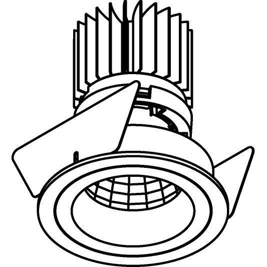 Drawing of 3391.IP20.S2/.. - Ø70 LUXOR.IP20, inbouwspot - rond - vast - down - met led - zonder LED driver