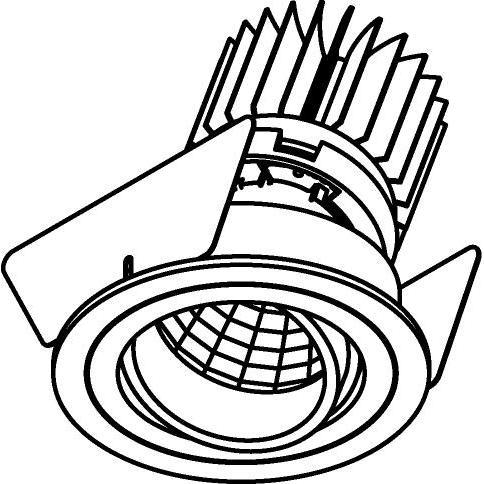 Drawing of 3392.IP20.S2/.. - Ø70 LUXOR.IP20, inbouwspot - rond - richtbaar - down - met led - zonder LED driver