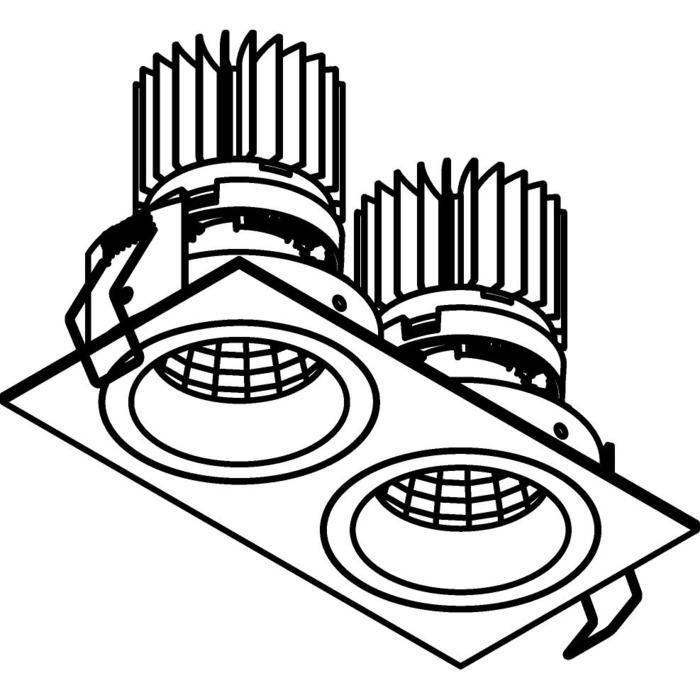 Drawing of 3397.IP20.S1/.. - 2XØ70 LUXOR.IP20, inbouwspot vierkant - vierkant - vast - down - met led - zonder LED driver
