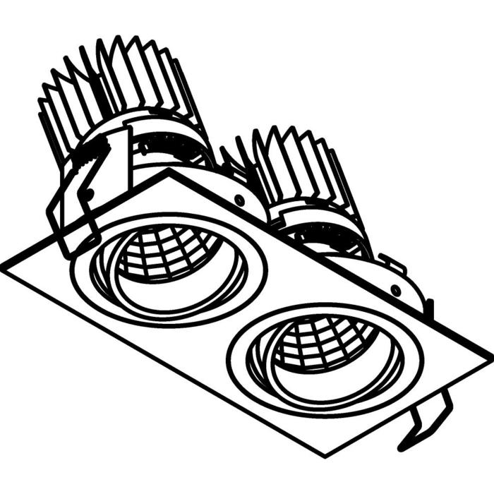 Drawing of 3398.IP20.S1/.. - 2XØ70 LUXOR.IP20, inbouwspot vierkant - vierkant - richtbaar - down - met led - zonder LED driver