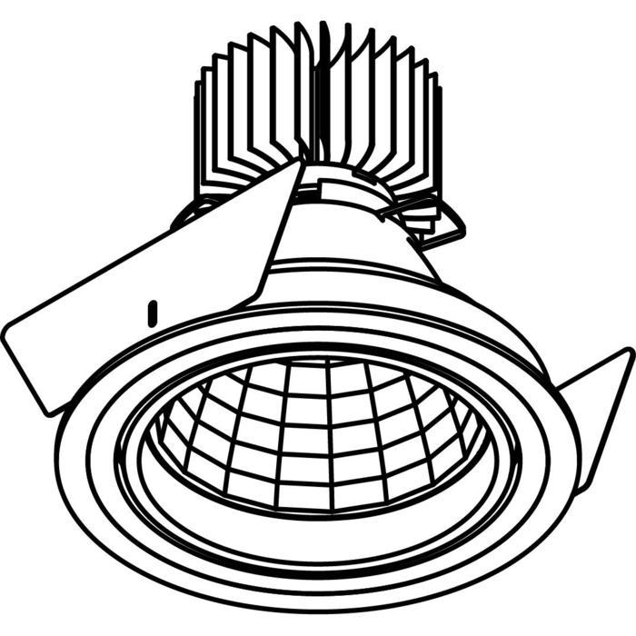 Drawing of 4061.IP20/.. - LUXOR - INCA.IP20, inbouwspot - rond - richtbaar - down - met led - zonder LED driver