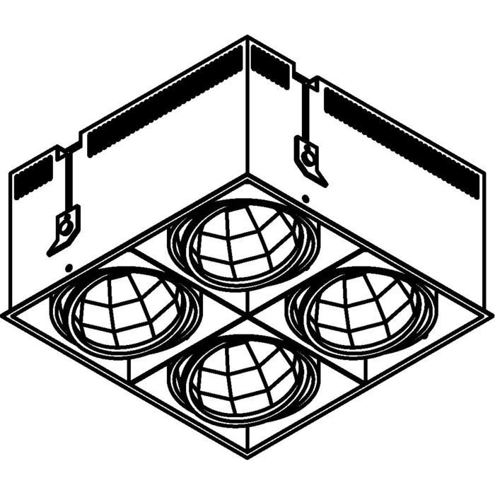 Drawing of 4074.IP20/.. - LUXOR - SPINNER, inbouwspot - vierkant - richtbaar - down - met led - zonder LED driver