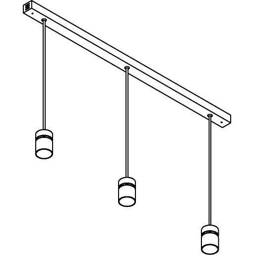 Drawing of 1828X3.IP20/.. - NAOMI SET 3 XICATO, hanglamp met bolgewricht - stang inkortbaar - down - met LED driver
