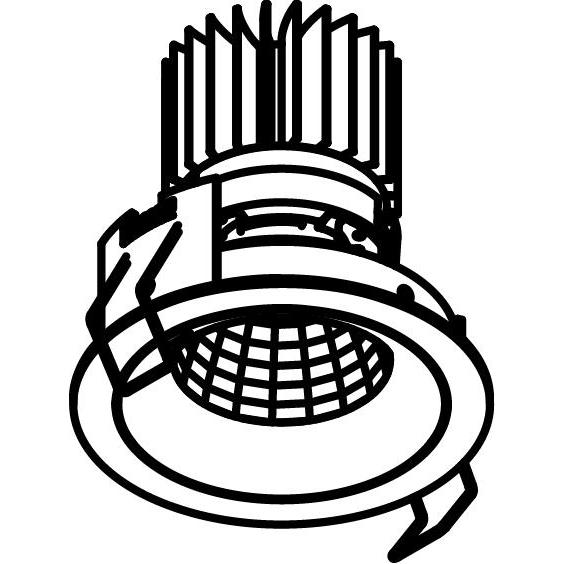 Drawing of 1390.IP20.S2/.. - LUXOR BOMBA.IP20, inbouwspot - rond - vast - met led - zonder LED driver