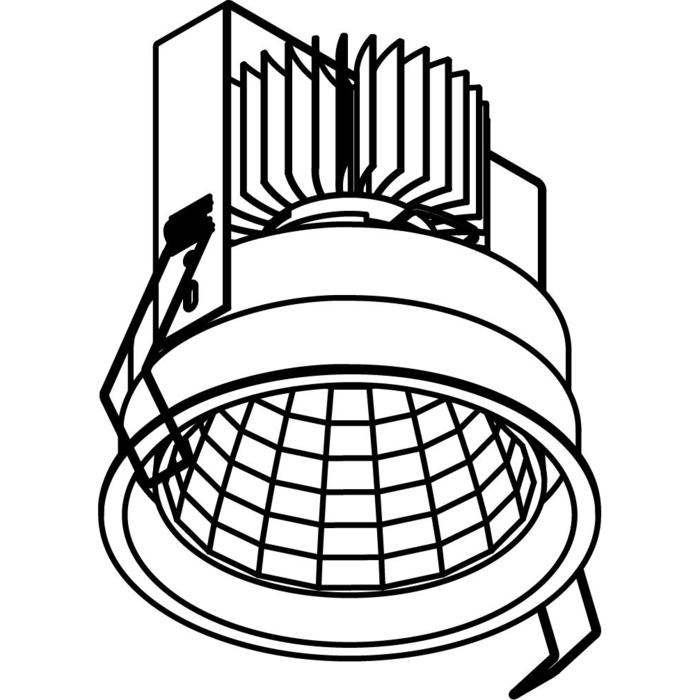 Drawing of 1766.2000.IP20/.. - KOZA X Ø118 CRI 95.IP20, inbouwspot - rond - vast - zonder LED driver
