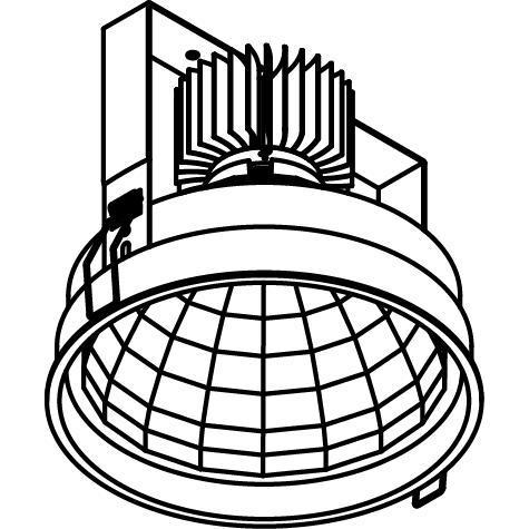 Drawing of 1768.1300.IP20/.. - KOZA X Ø164 CRI 95.IP20, inbouwspot - rond - vast - down - zonder LED driver