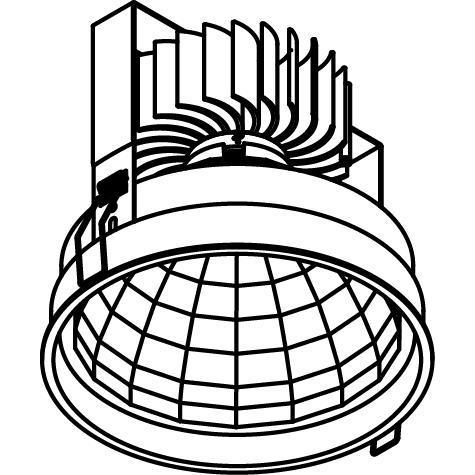 Drawing of 1768.2000.IP20/.. - KOZA X Ø164 CRI 95.IP20, inbouwspot - rond - vast - down - zonder LED driver