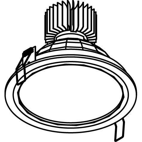 Drawing of 1767.1300.IP20.PL/.. - KOZA X Ø164 CRI 80.IP20, inbouwspot - rond - vast - down - met opale plexi - zonder LED driver
